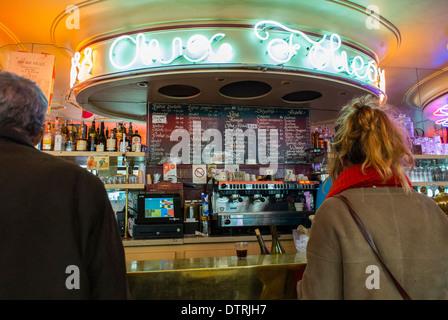 Paris, France., People inside Vintage French Café/Bar 'Au Folies Bar' in Belleville Area - Stock Photo