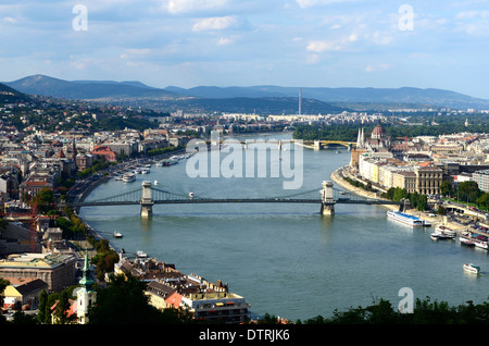 Budapest Hungary view of the city with the river Danube from Citadel in the Gellert hill (hegy) - Stock Photo