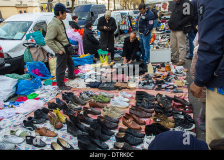 Paris, France., Immigrant Chinese Merchants, French Flea Market in Belleville District, Immigrants Selling Used - Stock Photo