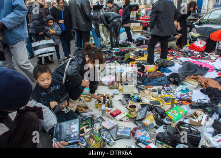 Paris, France. Immigrant Chinese Merchants, Shopping, French Flea Market in Belleville Area, Immigrants Selling - Stock Photo
