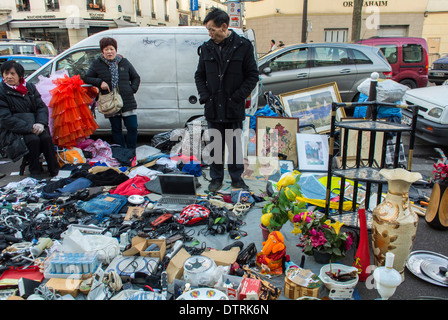 Paris, France., Immigrant Chinese Merchants, French Flea Market in Belleville Area, Immigrants Selling Used Products - Stock Photo