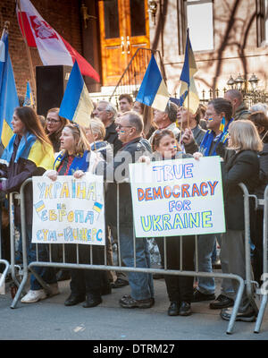 New York, USA. 23rd Feb, 2014. Ukrainian-Americans and their supporters rally in front of the Ukrainian Mission - Stock Photo