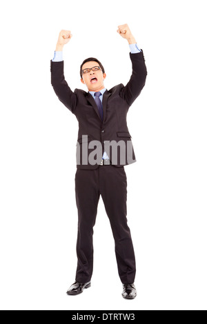 happy businessman raised up and shout loudly in studio - Stock Photo