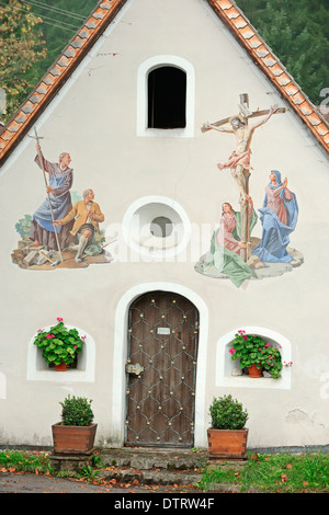Chapel with mural paintings, Klais, Werdenfelser Land, Bavaria, Germany - Stock Photo