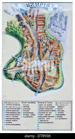 Fresco map old district of city - Uzupis - handmade painted on the home wall in Vilnius on May 04, 2013. - Stock Photo