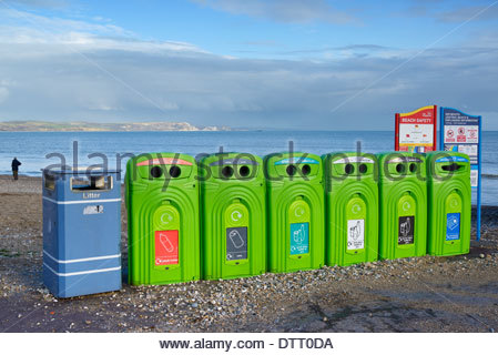 Separate materials Recycling bins, seafront, Weymouth, Dorset, England - Stock Photo