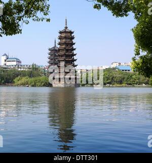 banyan lake pagodas - Stock Photo