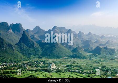 beautiful karst mountain landscape in guilin - Stock Photo