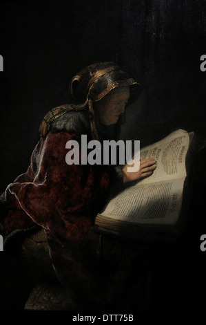 Rembrandt Harmenszoon van Rijn (1606-1669). Dutch painter. An Old Woman Reading, Probably the Prophetess Hannah, - Stock Photo