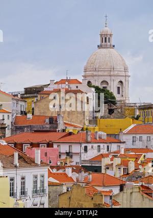 View of Alfama from Miradouro de Santa Luzia in Lisbon, Portugal - Stock Photo