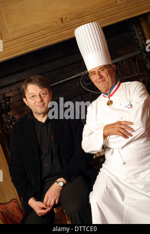 Collonges au Mont d'Or (east-central France in the Rhône-Alpes region): Paul Bocuse and Alain Vavro (2006/03/10) - Stock Photo
