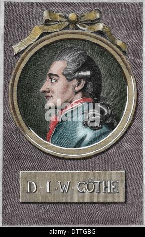 Johann Wolfgang von Goethe (1749-1832). German Writer and polymath. Romanticism. Engraving. Color. - Stock Photo