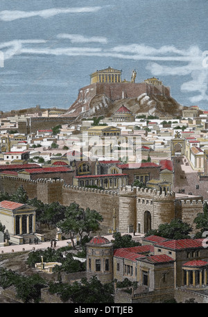 Greece. Athens. 1st century AC. City from East, in the time of Hadrian. Engraving by J. Buhlmann, 1886. (Later colouration) - Stock Photo