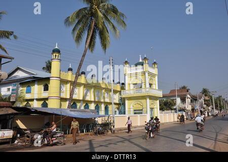 colonial style architecture,mawlamyaing,burma - Stock Photo