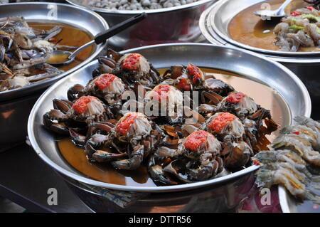 seafood in chinatown bangkok,thailand - Stock Photo
