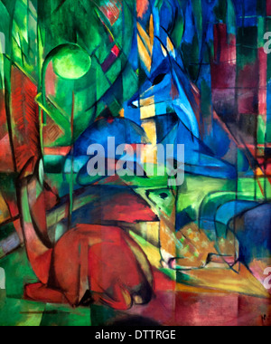 Rehe im Walde II - Deer in the forest  1914 Franz Marc 1880-1916 German Germany - Stock Photo