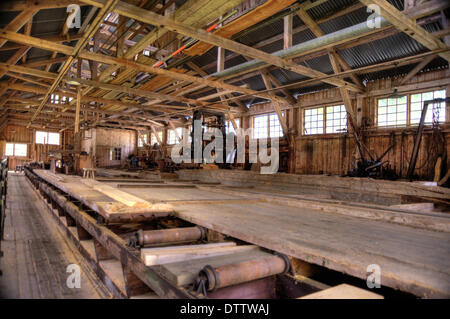 Interior of an old Lumber Mill - Stock Photo