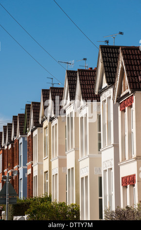 Row of terrace housing in Brighton's Loder Road - Stock Photo