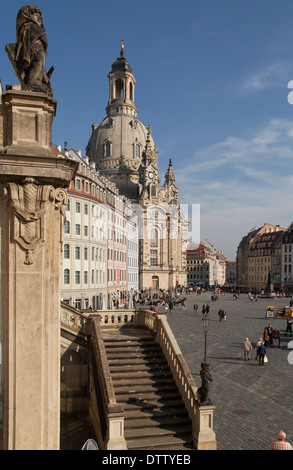 The Neumarkt New Market Square in Dresden seen from the Judenhof with the Church of Our Lady Dresden Frauenkirche - Stock Photo