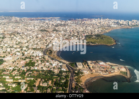 Aerial view of the city of Dakar, Senegal, by the coast of the Atlantic city - Stock Photo