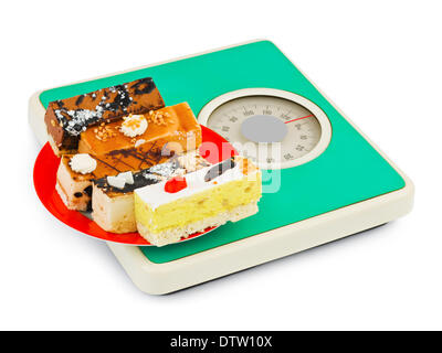 Cakes on weight scale - Stock Photo