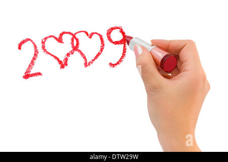 Hand with lipstick drawing hearts - Stock Photo