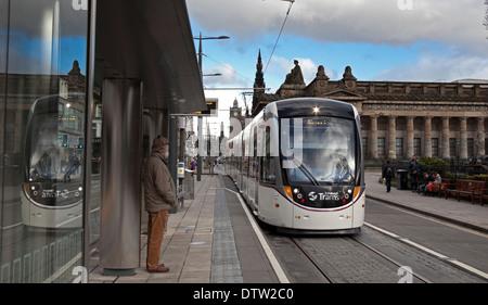 Edinburgh Tram stop Princes Street Scotland UK - Stock Photo