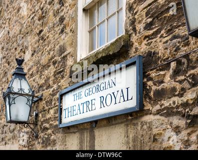 Exterior of the historic Georgian Theatre Royal, Richmond, North Yorkshire, Yorkshire Dales, England, UK, - Stock Photo