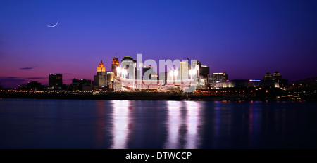 Baseball Night In Cincinnati Ohio, Just After Sunset, Reds vs Cubs, Panoramic View, USA - Stock Photo