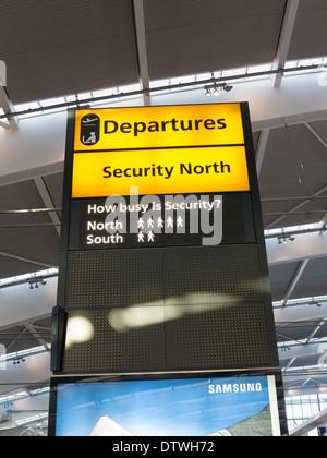 Security notice sign at Heathrow airport Terminal 5, London, UK - Stock Photo