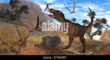 A Tyrannosaurus Rex dinosaur tries to eat his Triceratops kill when Pteranodons harass him. - Stock Photo