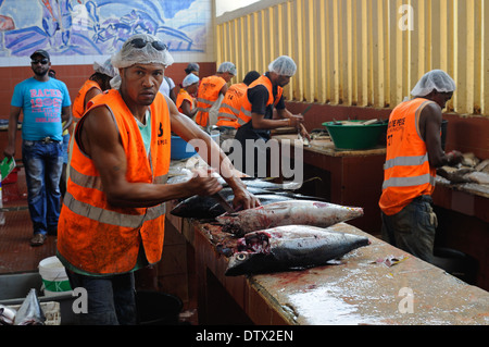 Fish being prepared for sale in the fish market, Mindelo, Cape Verde Islands - Stock Photo