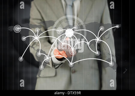 Businessman activating futuristic touchscreen - Stock Photo