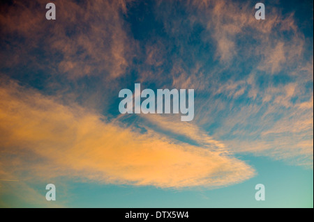 Jet contrails and pink clouds against blue sunset sky in Colorado, USA - Stock Photo