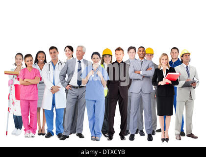 Smiling group of people with different jobs - Stock Photo