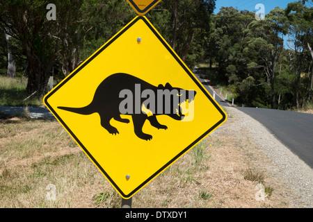 Tasmanian devil road signs near Marrawah, Arthur River, Tasmania - Stock Photo
