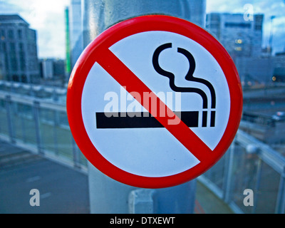 No Smoking Sign, East India DLR Station, London, England, United Kingdom - Stock Photo