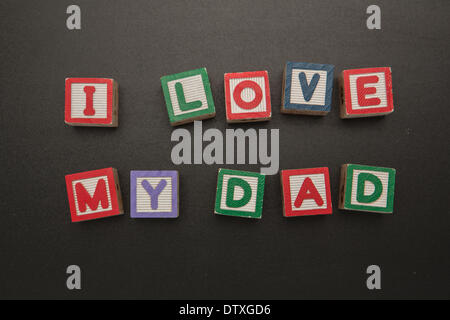I love my dad message in blocks - Stock Photo