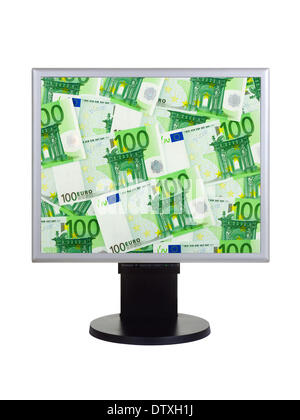 Computer monitor with money - Stock Photo
