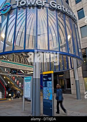 Tower Gateway Docklands Light Railway Station, near the Tower of London, London, England, United Kingdom - Stock Photo