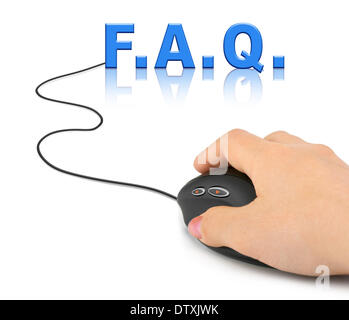 Hand with computer mouse and word FAQ - Stock Photo