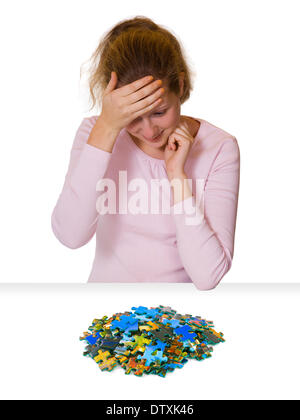 Girl and puzzle - Stock Photo