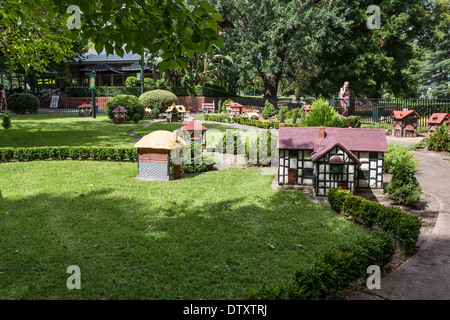Miniature Tudor Village, a major tourist attraction in Fitzroy Gardens Melbourne - Stock Photo