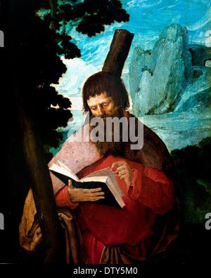 The St. Andrew in half figure 1511-1512 Lucas Hugensz. van Leyden 1494 - 1533  Leiden Dutch Netherlands - Stock Photo