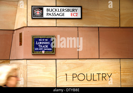 London, England, UK. Bucklersbury Passage / 1 Poultry (street). Site of the Loriners' Trade (11th-13th centuries) - Stock Photo