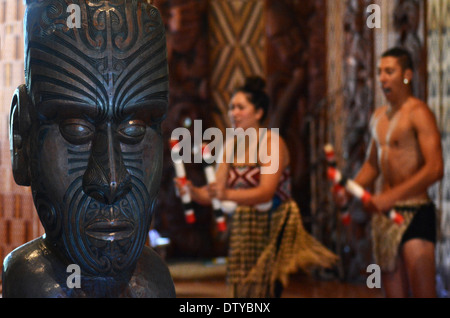 Maori people sing and dance during Waitangi Day in Waitangi, Northland, New Zealand - Stock Photo