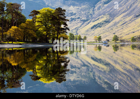 Reflections in the lake. The shoreline of Buttermere on a early summers morn. The Lake District, Cumbria, England, - Stock Photo