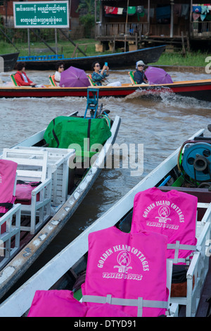 Tourist speedboats at the jetty. Nyaungshwe. Inle Lake. Myanmar (Burma). - Stock Photo