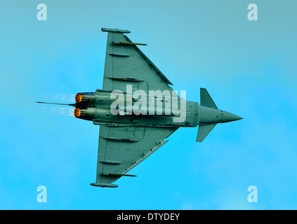 RAF Eurofighter Typhoon FGR4 jet flying at Duxford air show UK 2013 - Stock Photo