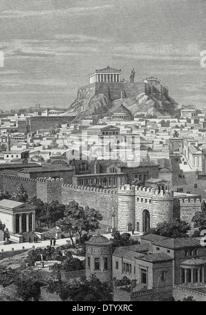 Greece. Athens. 1st century AC. City from East, in the time of Hadrian. Engraving by J. Buhlmann, 1886. - Stock Photo